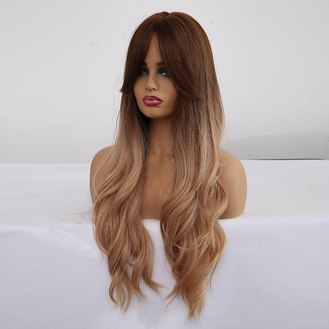 Synthetic Wig Matte Spiral Curl Minaj With Bangs Wig Long Light Blonde Synthetic Hair 28 inch Women's Comfortable curling Fluffy Blonde