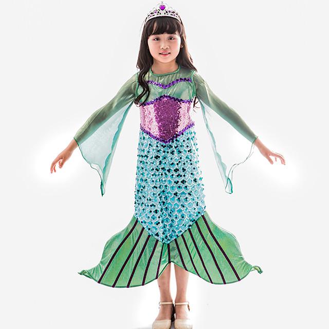 The Little Mermaid Princess Dress Flower Girl Dress Girls' Movie Cosplay A-Line Slip Green Dress Children's Day Masquerade Satin / Tulle Sequin
