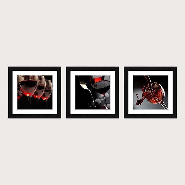 Framed Art Print Framed Set 3 - French Romantic Wine Glass PS Illustration Wall Art
