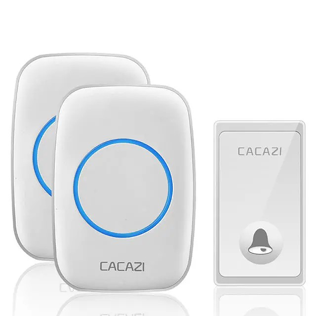 CACAZI FA60 Wireless Doorbell Self-powered Waterproof Intelligent Home Door Ring Bell 2Pcs Receivers Transmitter