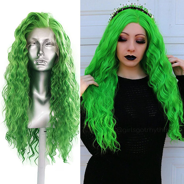 Synthetic Lace Front Wig Curly Middle Part Lace Front Wig Long Green Synthetic Hair 18-26 inch Women's Cosplay Soft Adjustable Green