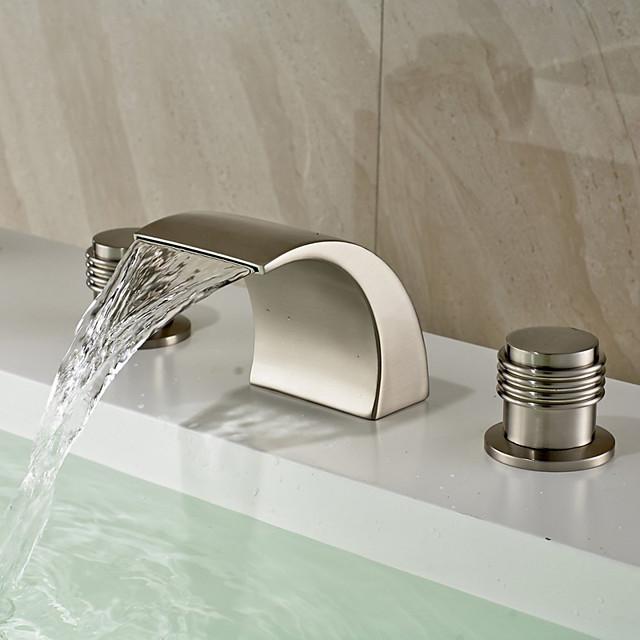 Bathroom Sink Faucet - Widespread / Waterfall Nickel Brushed Deck Mounted Two Handles Three HolesBath Taps