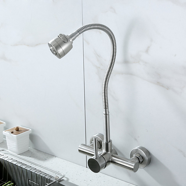 Wall Mount Faucet with Sprayer Kitchen Faucet Pot Filler Polished Chrome Commercial Single Handle Mixer Tap