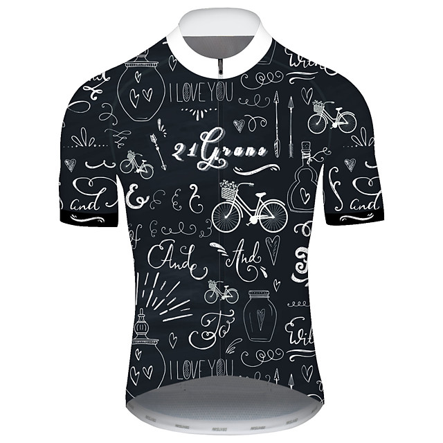 21Grams Men's Short Sleeve Cycling Jersey Spandex Polyester Black Bike Jersey Top Mountain Bike MTB Road Bike Cycling UV Resistant Breathable Quick Dry Sports Clothing Apparel / Stretchy / Race Fit