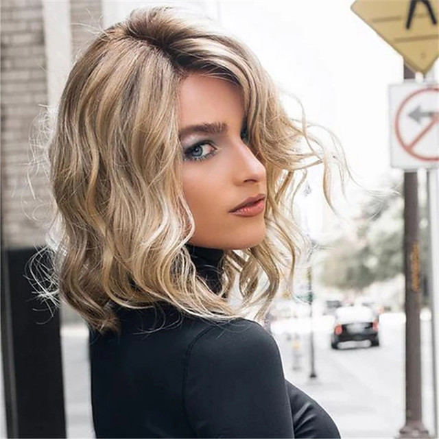 Synthetic Wig Curly With Bangs Wig Short Light Brown Synthetic Hair 12 inch Women's Fashionable Design Life Classic Light Brown
