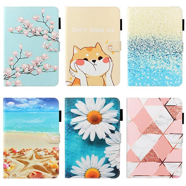 Case For Apple iPad 10.2 / iPad Mini 3/2/1 /Mini 4/5 Wallet / Card Holder / with Stand Full Body Cases Scenery / Flower PU Leather For iPad Pro 9.7/New Air 10.5 2019/Air 2/2017/2018