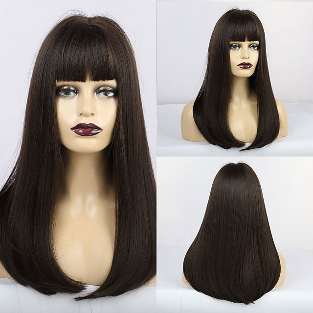 Synthetic Wig Matte Natural Straight Neat Bang Wig Long sepia Synthetic Hair 20 inch Women's Middle Part Waterfall Dark Brown