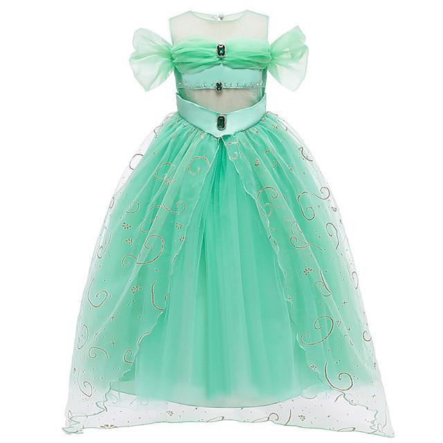 Princess Princess Jasmine Dress Flower Girl Dress Girls' Movie Cosplay A-Line Slip Green Dress Children's Day Masquerade Tulle Polyester