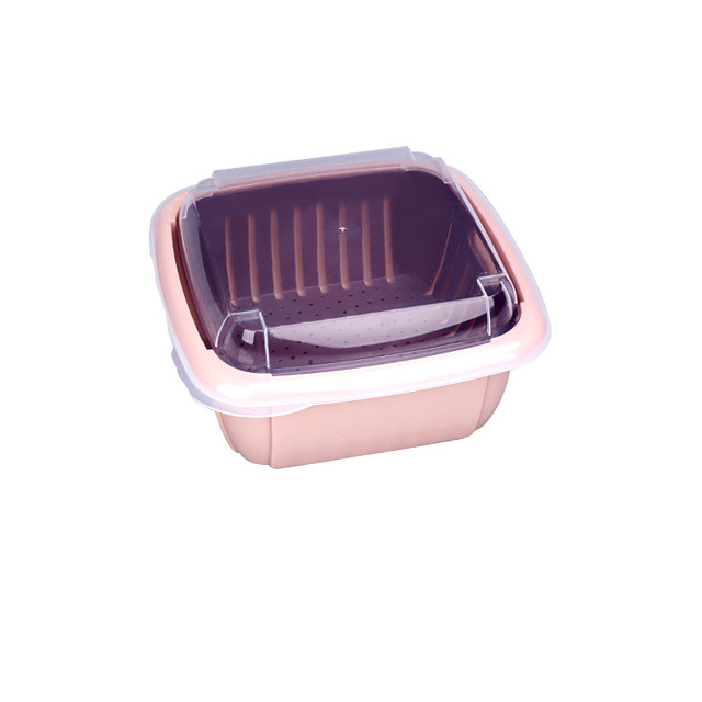 Household Lavatory Blackened Water Basket Double Layer Creative Modern Kitchen Wash Fruit Artifact