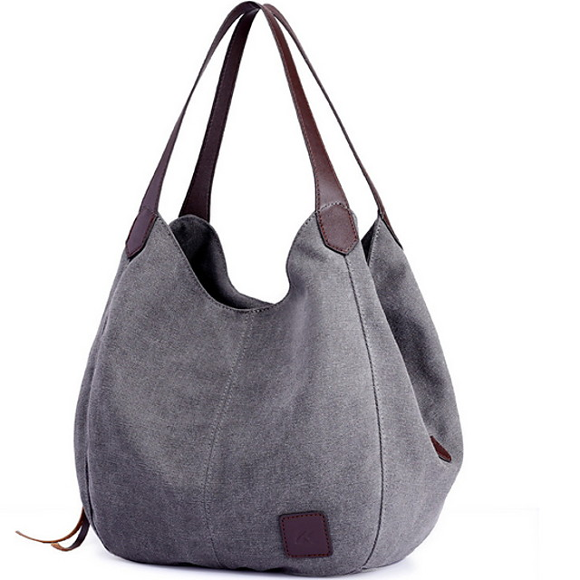 Women's Bags PU Leather Canvas Top Handle Bag Hobo Bag Zipper Color Block Canvas Bag Daily Black Blue Purple Army Green