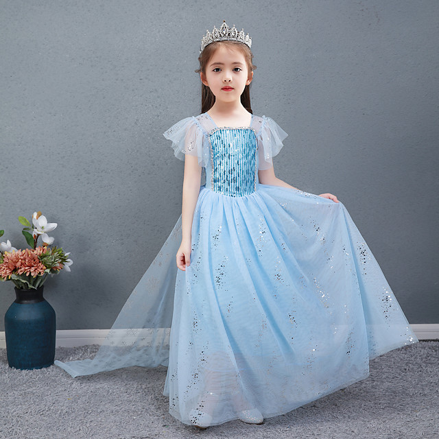 Frozen Princess Dress Girls' Movie Cosplay Halloween Christmas Blue Dress Christmas Halloween