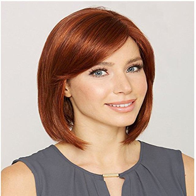 Synthetic Wig kinky Straight Asymmetrical Wig Short Light golden Burgundy Synthetic Hair 12 inch Women's Easy to Carry Women Easy dressing Red Blonde