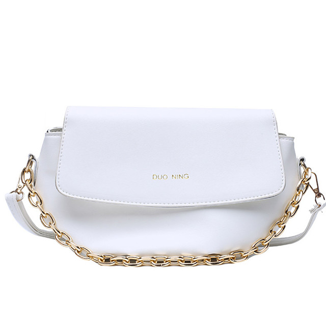 Women's Bags PU Leather / Polyester Top Handle Bag Chain for Daily / Office & Career White / Black / Yellow / Fall & Winter