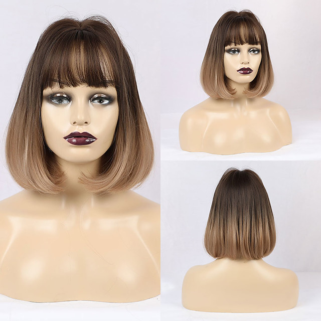 Synthetic Wig Matte Natural Straight Casual Lolita Neat Bang Wig Long Light Brown Synthetic Hair 12 inch Women's Simple Middle Part Light Brown