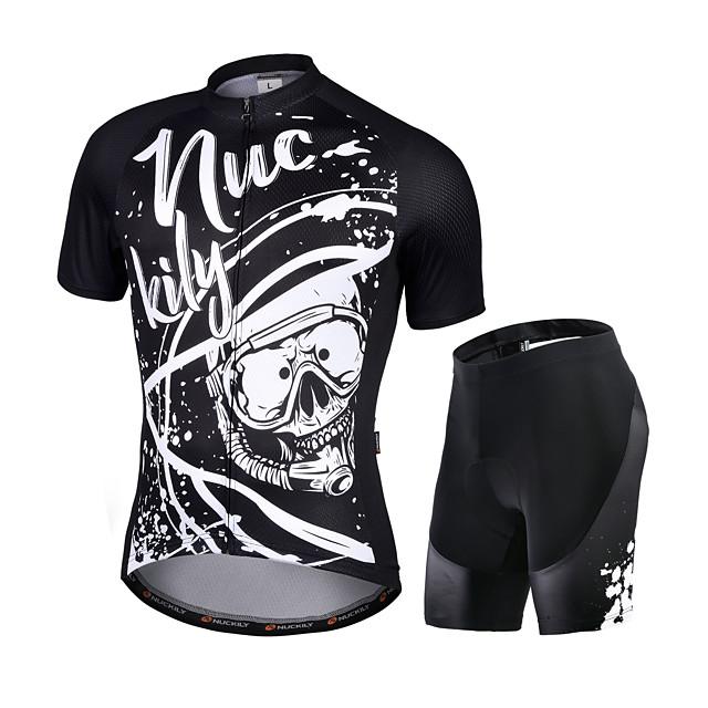 Nuckily Men's Short Sleeve Cycling Jersey with Shorts Black Bike Quick Dry Sports Graffiti Road Bike Cycling Clothing Apparel