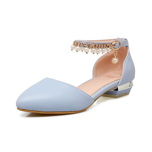 Női Szandálok Alacsony Erősített lábujj Napi PU Nyár Fehér Kék Rózsaszín