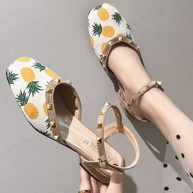 Women's Sandals Summer Chunky Heel Square Toe Daily PU Yellow / Pink