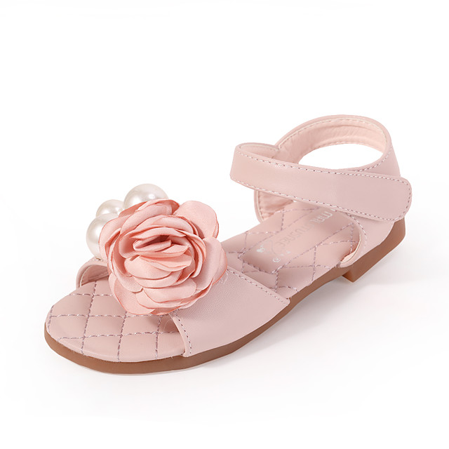 Girls' Comfort / Flower Girl Shoes Microfiber Sandals Dress Shoes Toddler(9m-4ys) / Little Kids(4-7ys) Sparkling Glitter / Flower Pink / Ivory Spring / Summer / Party & Evening / Rubber