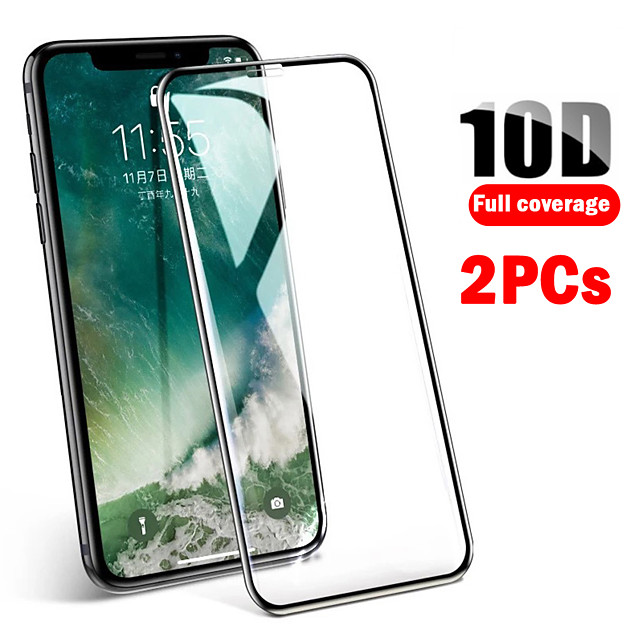 2PCS 10D Full Cover of Tempered Film iPhone11 Xs Max Xs Xr X 8 7 6 Fall Protection