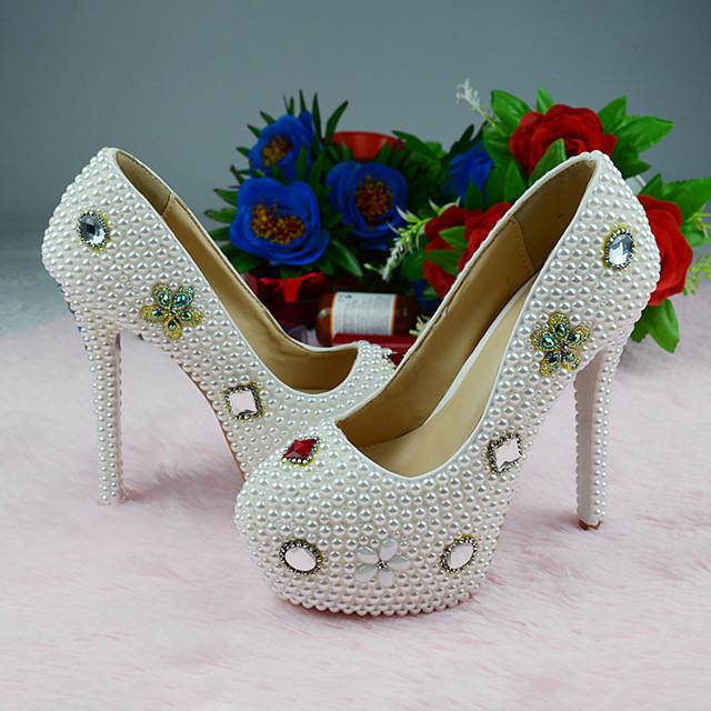 Women's Heels 2020 Stiletto Heel Round Toe Wedding Party & Evening Rhinestone Pearl PU White