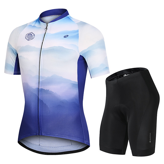 Nuckily Men's Short Sleeve Cycling Jersey with Shorts Blue Bike Sports Nature & Landscapes Road Bike Cycling Clothing Apparel