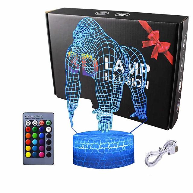 3D Illusion Monkey Gorilla Orangutan Night Lamp 7 Color Change Touch White Crack Base Power by AA Batteries Chrismas Xmas Gift for Boy Girl Teenage
