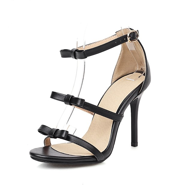 Women's Sandals 2020 Spring & Summer Stiletto Heel Open Toe Business Classic Wedding Party & Evening Bowknot Solid Colored PU Black / Brown