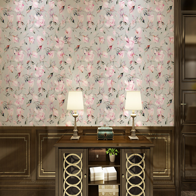 Custom Self-Adhesive Mural Wallpaper Powder Pink Flowers Suitable For Bedroom Living Room Coffee Shop Restaurant Hotel Wall Decoration Art  Landscape Home Decoration Modern Wall Covering