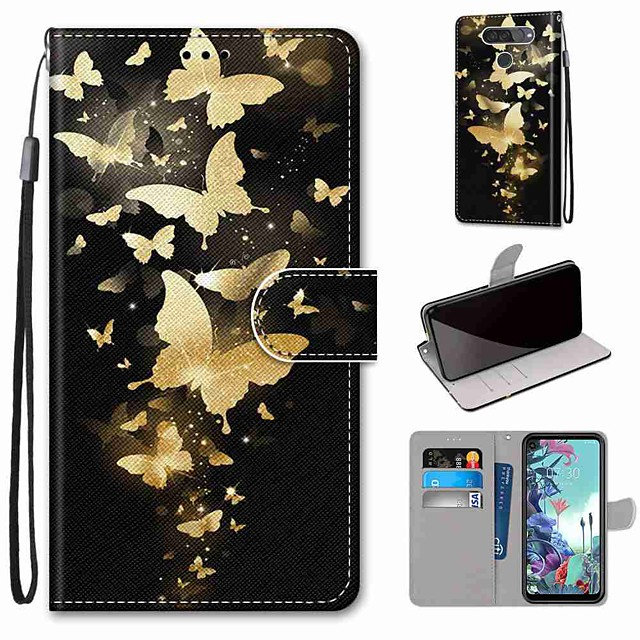 Case For LG Q70 / LG K50S / LG K40S Wallet / Card Holder / with Stand Full Body Cases Golden Butterfly PU Leather / TPU for LG K30 2019 / LG K20 2019