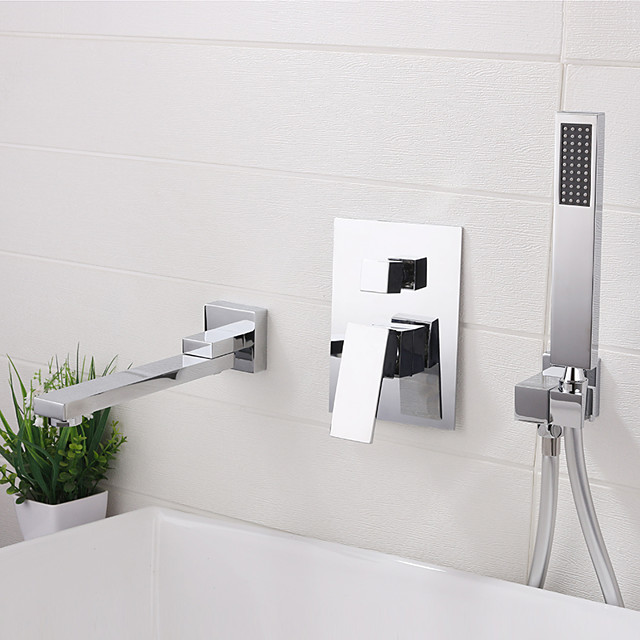 Bathroom Sink Faucet - Wall Mount / Widespread Electroplated Widespread Single Handle Three HolesBath Taps