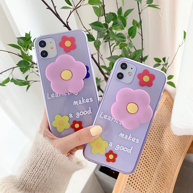 Case For Apple iPhone 11 / iPhone 11 Pro / iPhone 11 Pro Max Shockproof / with Stand Back Cover Flower TPU