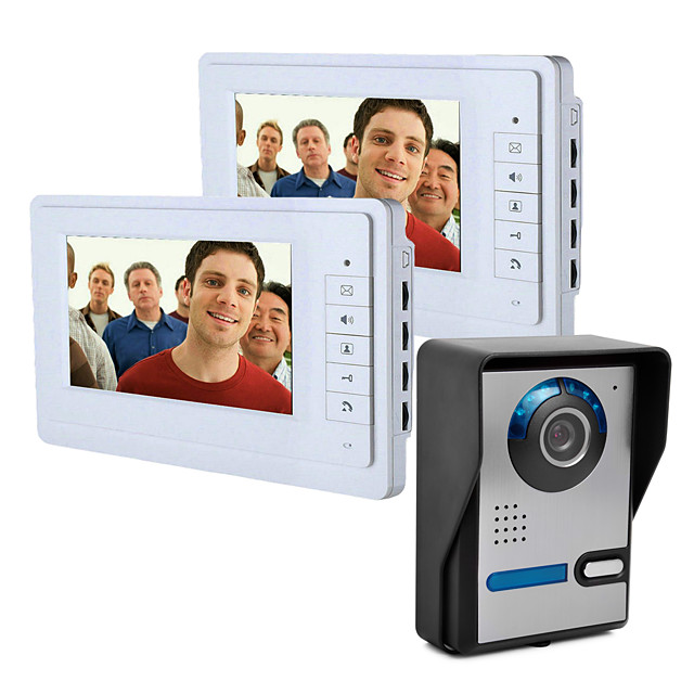 7 Inch Wire Vidoe Door phone Home Security Intercom System Unlock 1 Camera 2 Monitor P816FA12