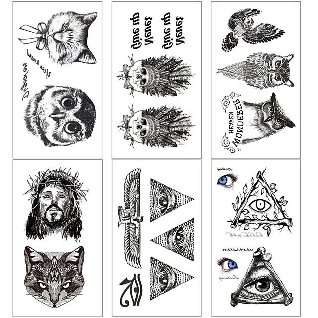 6 pcs Los tatuajes temporales Resistente al Agua / Mini Estilo / Seguridad Rostro / Cuerpo / manos Pegatina de transferencia de agua Colores para Pintura Corporal