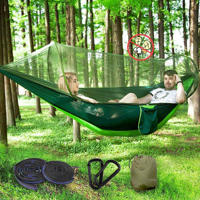 Camping Hammock with Pop Up Mosquito Net Double Hammock Outdoor Breathable Anti-Mosquito Ultra Light (UL) Foldable Mesh Parachute Nylon with Carabiners and Tree Straps for 2 person Camping / Hiking