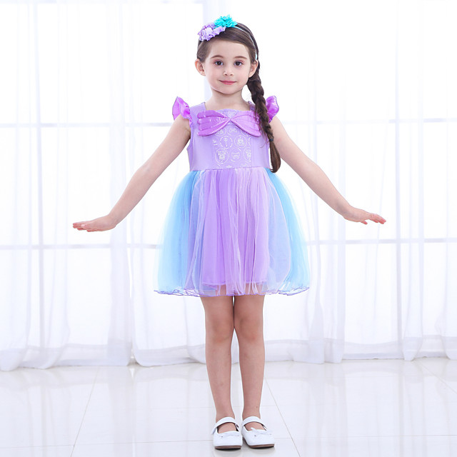 The Little Mermaid Princess Dress Flower Girl Dress Girls' Movie Cosplay A-Line Slip Purple Dress Children's Day Masquerade Satin / Tulle