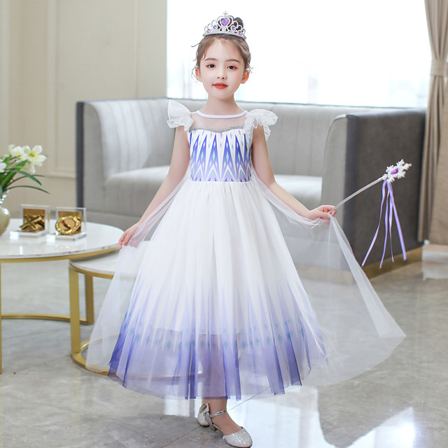 Frozen Outfits Costume Girls' Movie Cosplay Cosplay Pink / Blue / Purple (With Accessories) Skirt Children's Day Polyester Cotton