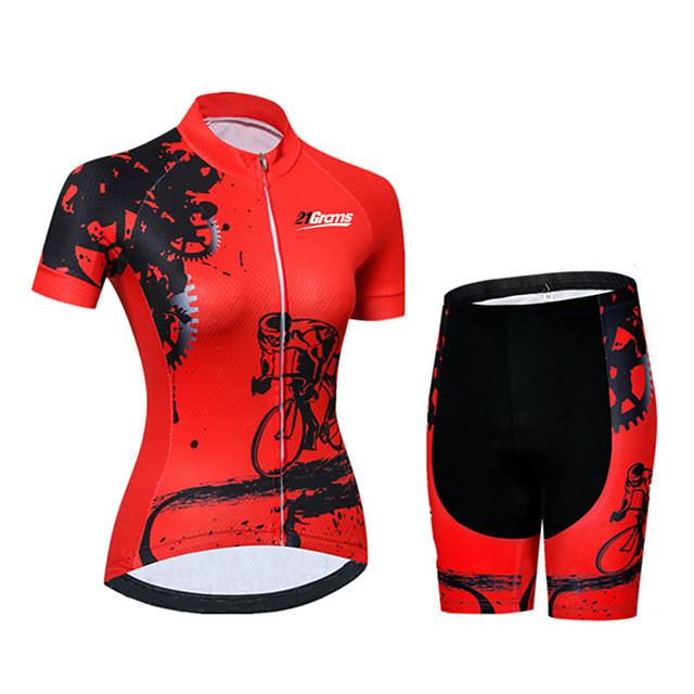21Grams Femme Manches Courtes Maillot et Cuissard Velo Cyclisme Spandex Polyester Noir / Rouge Equipement Vélo Ensembles de Sport Respirable Séchage rapide Résistant aux ultraviolets / Vélo Route