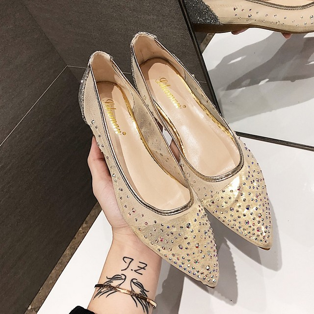 Women's Wedding Shoes Flat Heel Pointed Toe Wedding Suede Summer Beige