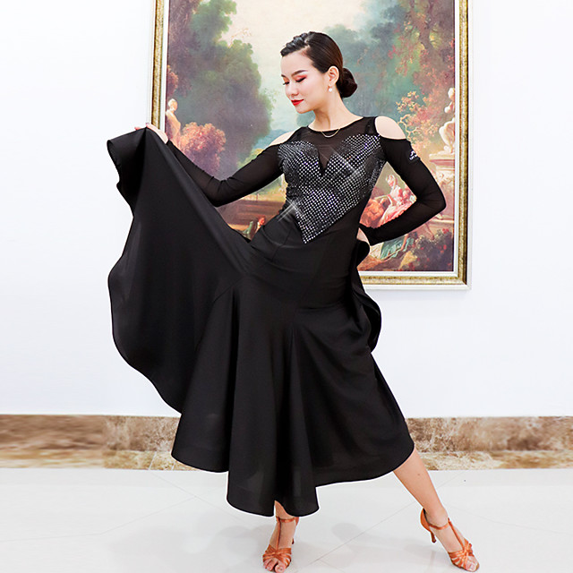 Ballroom Dance Dress Split Joint Women's Training Performance Long Sleeve Mesh Polyester
