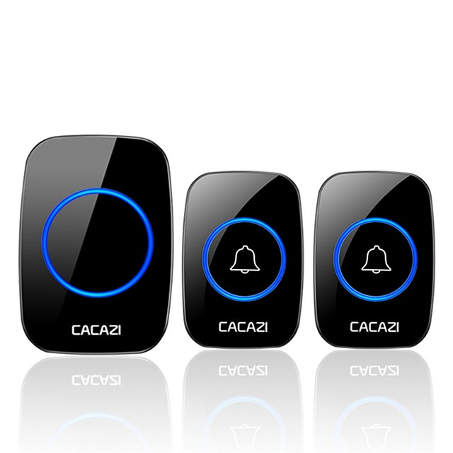 CACAZI Wireless Doorbell Waterproof Battery Buttons US EU UK AU Plug Receiver 300M Remote Led Light Home Cordless Bell 60 Chimes
