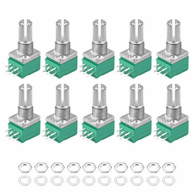 Potentiometer B10K B50K B100K Ohm Variable Resistors Double Turn Rotary Carbon Film Taper RV097G 10pcs