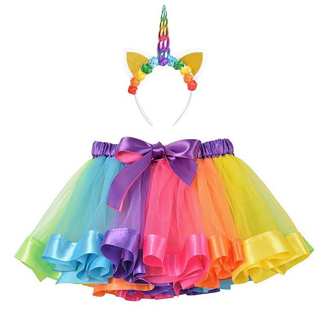 Princess Unicorn Dress Outfits Girls' Movie Cosplay A-Line Slip Purple / Yellow / Light Purple Skirt Headband Children's Day Masquerade