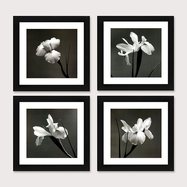 Framed Art Print Framed Set Modern of Contemporary Contracted Black And White Flower Study Bedroom Dining-Room Ready to Hang