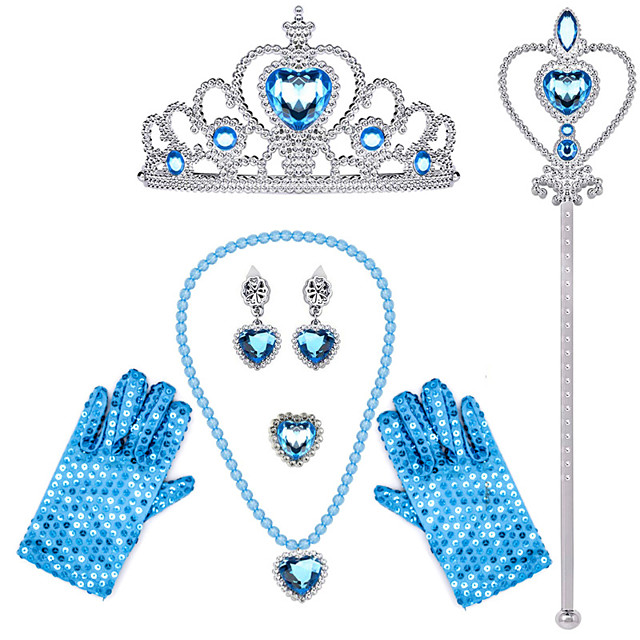 Cinderella Princess Elsa Princess Cosplay Jewelry Accessories Girls' Movie Cosplay Black / Purple / Yellow 1 Ring Gloves Crown Children's Day Masquerade Plastics / Necklace / Earrings / Wand