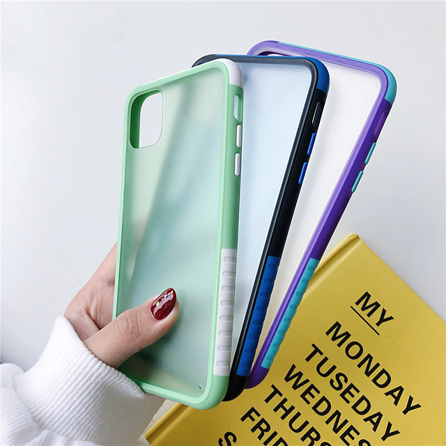 Hybrid Simple Matte Bumper Phone Case for iPhone  SE 2020 / 11 / 11 Pro / 11Pro Max / X / XS / XR / XS Max /  8 / 8 Plus / 7 Plus / 7 / 6Plus / 6  Shockproof Soft TPU Silicone Color Clear Cover