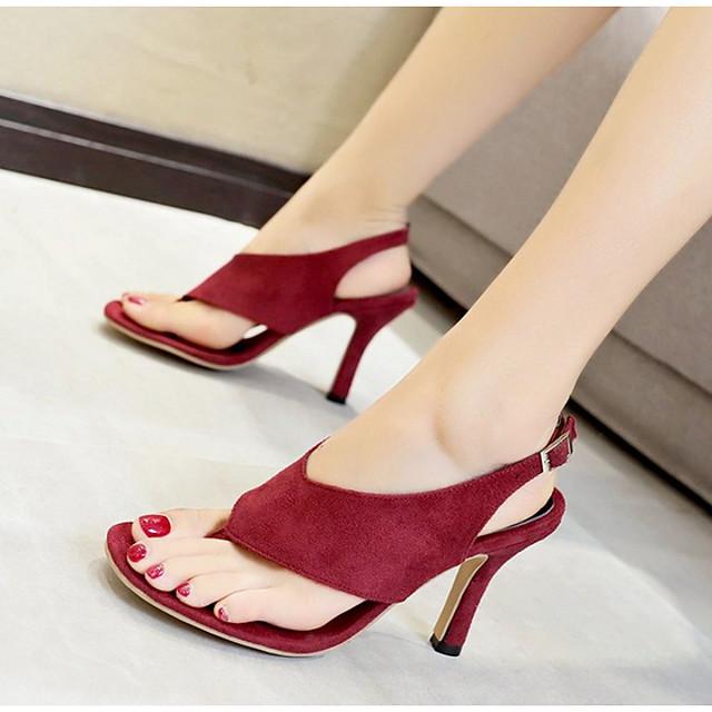 Women's Sandals Summer Stiletto Heel Round Toe Daily PU Black / Burgundy