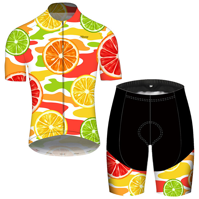 21Grams Men's Short Sleeve Cycling Jersey with Shorts Spandex Polyester Orange Fruit Lemon Bike Clothing Suit UV Resistant Breathable 3D Pad Quick Dry Reflective Strips Sports Fruit Mountain Bike MTB