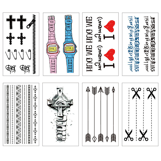8 pcs Temporary Tattoos Water Resistant / Waterproof / Mini Style / Safety Face / Body / Hand Water-Transfer Sticker Body Painting Colors