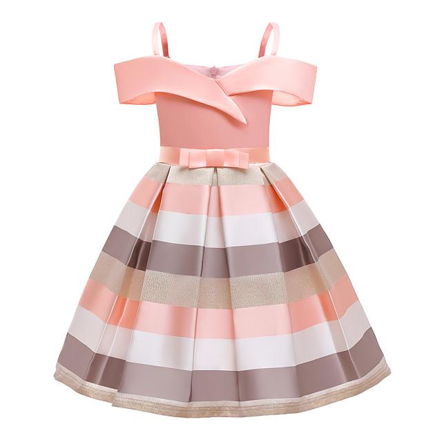 Kids Little Girls' Dress Striped Pleated Bow Blue Blushing Pink Knee-length Sleeveless Active Vintage Dresses Regular Fit