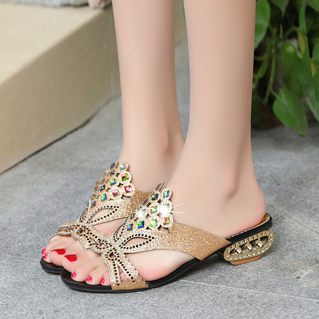 Women's Sandals 2020 Summer Pumps Open Toe Casual Daily Home Rhinestone Faux Leather Black / Blue / Light Blue
